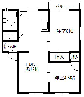 徳山不動産の物件「ファミール サーシャ 102号室 駐車場2台付きの2LDK 」の間取り図
