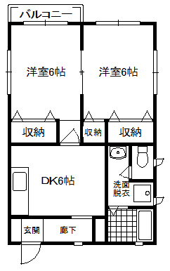 徳山不動産の物件「パークビレッジ B棟 101号室  スーパー、小学校が近い 」の間取り図