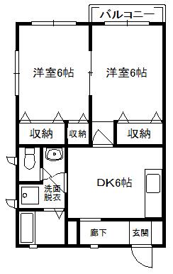 徳山不動産の物件「パークビレッジ C棟 101号室                     スーパー、小学校が近い 」の間取り図