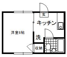徳山不動産の物件「敷金ゼロ!礼金ゼロ!仲介料ゼロ!        キャンディハウス 206号室  スーパーアルクまで徒歩5分  」の間取り図