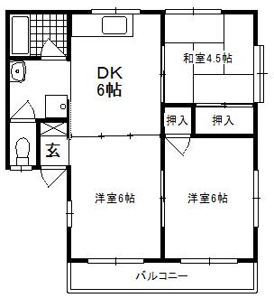 徳山不動産の物件「グリーンハイツ 徳山東インター近くの3DKです。」の間取り図
