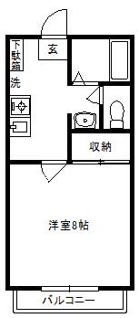 徳山不動産の物件「敷金ゼロ!礼金ゼロ!仲介料ゼロ! ルネッサンスみずほA棟 204号室 当店で契約された方に、入居祝い金3万円キャッシュバック中     」の間取り図