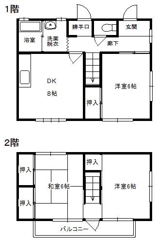 徳山不動産の物件「花畠町棟割住宅(東側)          美術館、動物園近いですよ♪」の間取り図