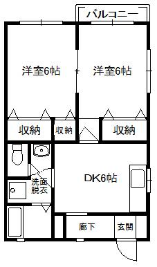 徳山不動産の物件「パークビレッジ D棟 101号室                スーパー、小学校が近い!」の間取り図