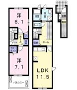 徳山不動産の物件「ヌーベル  2017年2月築の築浅ペット可物件」の間取り図
