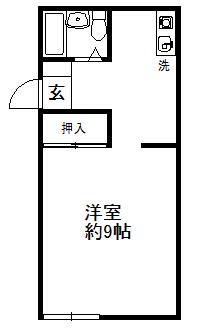 徳山不動産の物件「敷金ゼロ!礼金ゼロ!仲介料ゼロ!      メゾン・ド・シャルル 215号室 ※予約中 2階の広いタイプ 」の間取り図
