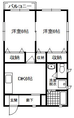 徳山不動産の物件「パークビレッジ B棟 201号室  スーパー、小学校が近い」の間取り図