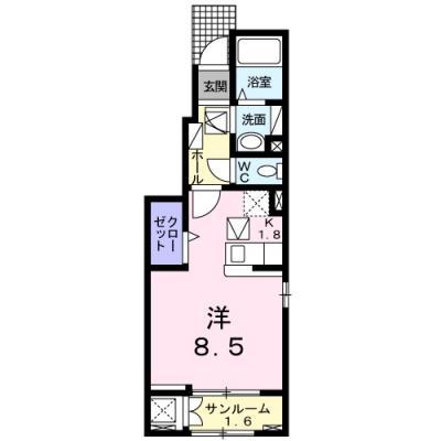 徳山不動産の物件「カルムS  1F」の間取り図