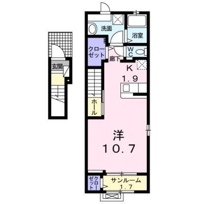 徳山不動産の物件「カルムS  2F」の間取り図