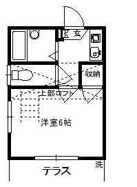 徳山不動産の物件「敷金ゼロ!礼金ゼロ!仲介料ゼロ!       レオグラン3 103号室 ロフト付き1K  」の間取り図