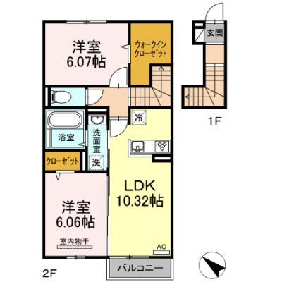徳山不動産の物件「シェーヴル 202号室」の間取り図