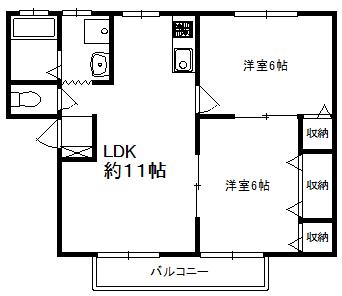 徳山不動産の物件「クレセント周陽 102号室 ※予約中   101号室は空いています          人気の周陽地区の2LDKです」の間取り図
