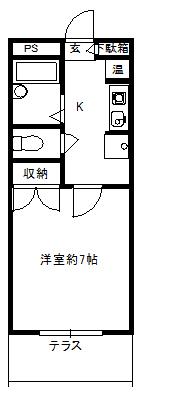 徳山不動産の物件「敷金ゼロ!礼金ゼロ!仲介料ゼロ!            シャルル参番館 206号室 2階角部屋   」の間取り図
