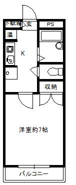 徳山不動産の物件「敷金ゼロ!礼金ゼロ!仲介料ゼロ!        シャルル参番館 203号室                  オール電化です   」の間取り図