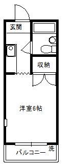 徳山不動産の物件「敷金ゼロ!礼金ゼロ!仲介料ゼロ!        シャルルS 205号室」の間取り図