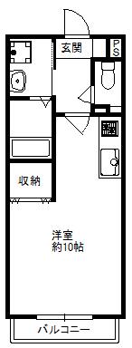 徳山不動産の物件「敷金ゼロ!礼金ゼロ!仲介料ゼロ!        ルネッサンスみずほ D棟 2階 」の間取り図