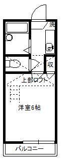 徳山不動産の物件「敷金ゼロ!礼金ゼロ!仲介料ゼロ!        レオグラン2 102号室 ロフト付1K ※予約中」の間取り図