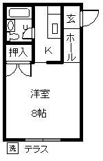 徳山不動産の物件「敷金ゼロ!礼金ゼロ!仲介料ゼロ!         メゾンGINA 101号室」の間取り図