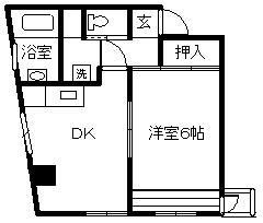 徳山不動産の物件「シャルル六番館 6階 1DK    ザ・ビッグまで徒歩4分です 」の間取り図