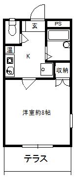徳山不動産の物件「敷金ゼロ!礼金ゼロ!仲介料ゼロ!            シャルル参番館 101号室 1階角部屋、広いタイプ」の間取り図