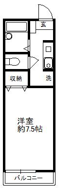 徳山不動産の物件「敷金ゼロ!礼金ゼロ!仲介料ゼロ!        ベルビューM 1階   下松市1K 」の間取り図