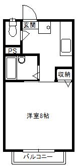 徳山不動産の物件「敷金ゼロ!礼金ゼロ!仲介料ゼロ!        エスペーロ 202号室           鉄筋コンクリート造アパート 」の間取り図