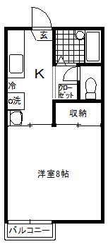 徳山不動産の物件「敷金ゼロ!礼金ゼロ!仲介料ゼロ!        キャンディハウス 205号室 2階角部屋 」の間取り図