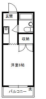 徳山不動産の物件「敷金ゼロ!礼金ゼロ!仲介料ゼロ!        シャルルS 204号室  」の間取り図