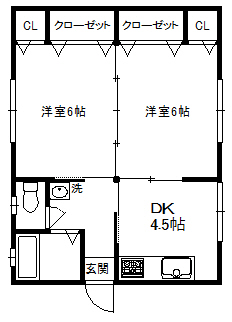 徳山不動産の物件「江の宮町借家 B棟                            リフォーム完了 ピカピカです!」の間取り図