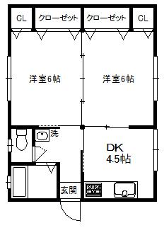 徳山不動産の物件「江の宮町借家 C棟                            リフォーム完了 ピカピカです!」の間取り図