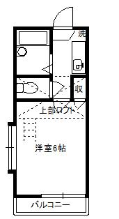 徳山不動産の物件「敷金ゼロ!礼金ゼロ!仲介料ゼロ!     レオグラン2 201号室         ロフト付1K」の間取り図