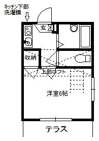 徳山不動産の物件「敷金ゼロ!礼金ゼロ!仲介料ゼロ!        レオグラン3 101号室 ロフト付き           スーパー近くて便利」の間取り図