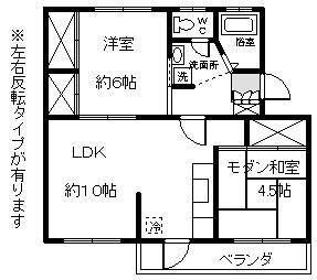 徳山不動産の物件「敷金ゼロ!礼金ゼロ!仲介料ゼロ!                  ビラ慶万206号室 スーパーすぐ隣りで便利です 」の間取り図