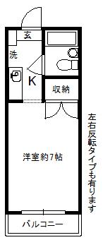 徳山不動産の物件「敷金ゼロ!礼金ゼロ!仲介料ゼロ!メゾン・ド・シャルル 2階  」の間取り図